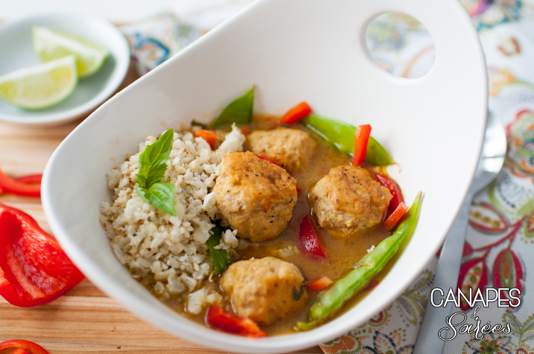 Green curry chicken meatballs whole30 low carb for Meatball canape